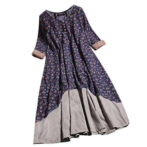 (Witspace Women Floral Printed O-Ncek Layered Long Sleeve Button Vintage Long Dress)