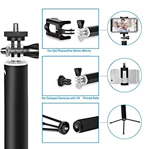 Bluetooth Selfie Stick,EletecPro Extendable Wireless Monopod with Tripod Stand Foldable Remote Control Sticker for iPhone, Samsung, other Android phones, GoPro and digital cameras (Black)
