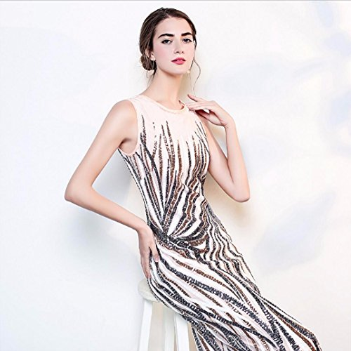de sin Vestido de WBXAZL y un de Paso Ahuecado Mangas nuevos Falda Europeos Solo a Noche Vestido Americanos 4xzqIF