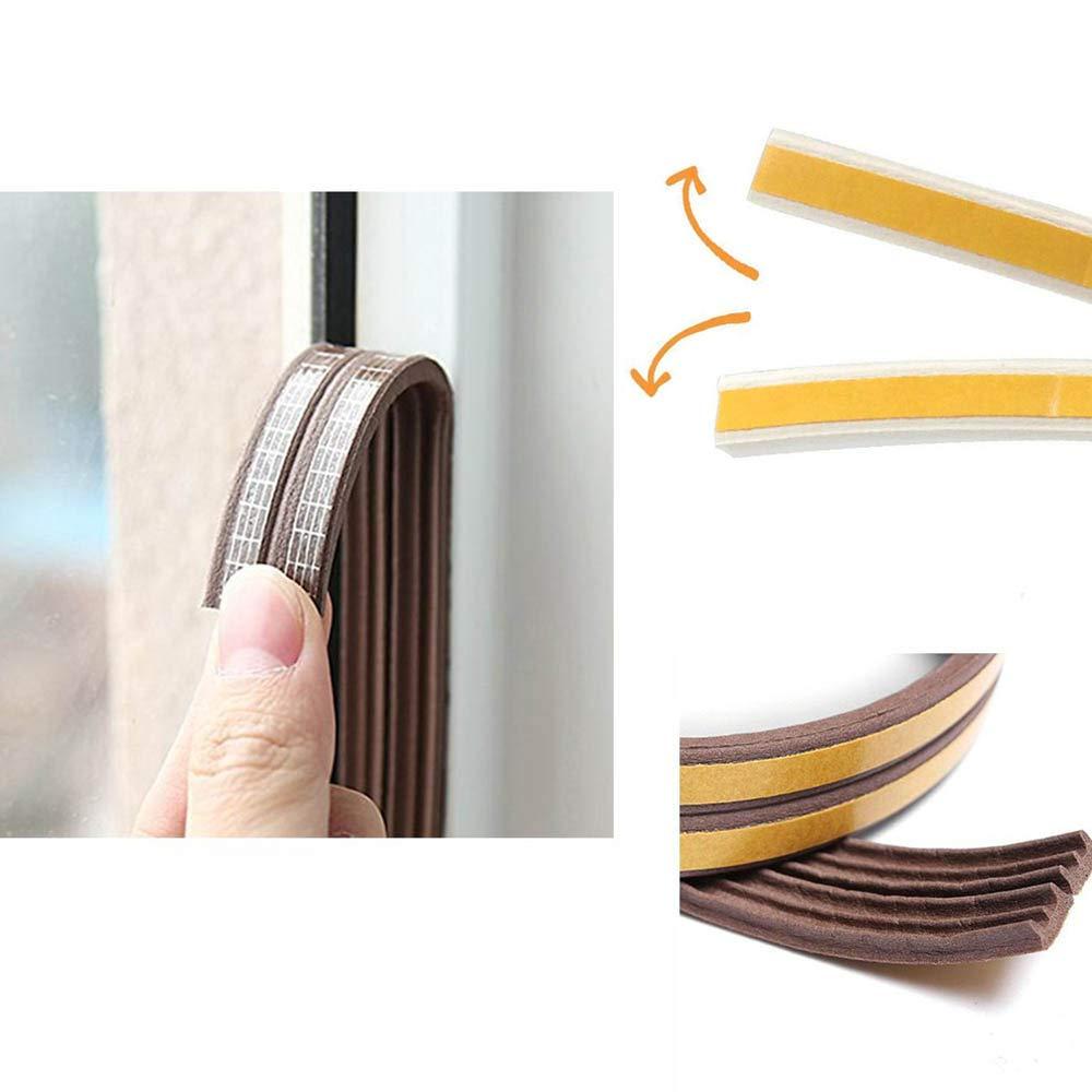 tipo D, tipo E, tipo I Cinta de sellado para puertas protecci/ón contra ruido protecci/ón contra corrientes de aire, para ventanas y ventanas resistente al agua junta de goma autoadhesiva 5 m