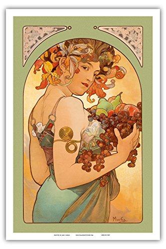 """Pacifica Island Art Fruit - Art Nouveau - La Belle Époque- """"Les Maitres de l'Affiche""""- Art Deco- Vintage French Advertising Poster by Alphonse Mucha c.1897 - Master Art Print - 12in x 18in"""