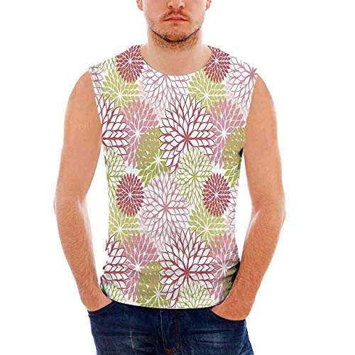 Floral Mens Comfort Cotton Tank Top,Hand Drawn Ornate Plants Leaves Petals Buds