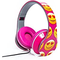 Emoji Folding Fatheads Stereo Headphones Smiley Face Heart Eyes Pink