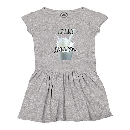 Cute Rascals Milk Junkie Short Sleeve Taped Neck Girl Cotton Toddler Rib Dress School Clothes - Oxford Gray, 5/6T from Cute Rascals