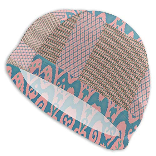 Embossed Spandex Hat - HIAHBH Ikat Embossed Collage Fabric (8357) Long Hair Swim Cap 1 Pack, 2019 Thicker Design, Waterproof Polyester Swimming Cap for Adult Woman and Men