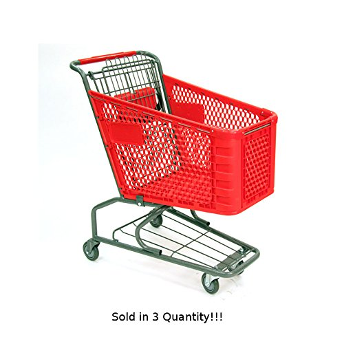 3 New Small Plastic Shopping Cart w/ Bottom Tray and Red Basket (100-liter) by Store Shopping Cart