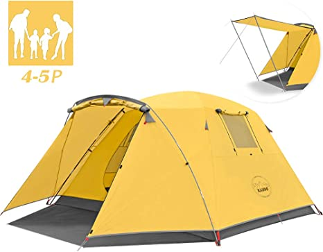 KAZOO Outdoor Camping Tent Large Waterproof Family dome tent 4 person festival Easy Tent with Porch Double Layer (camping Outdoor tent, family tent)