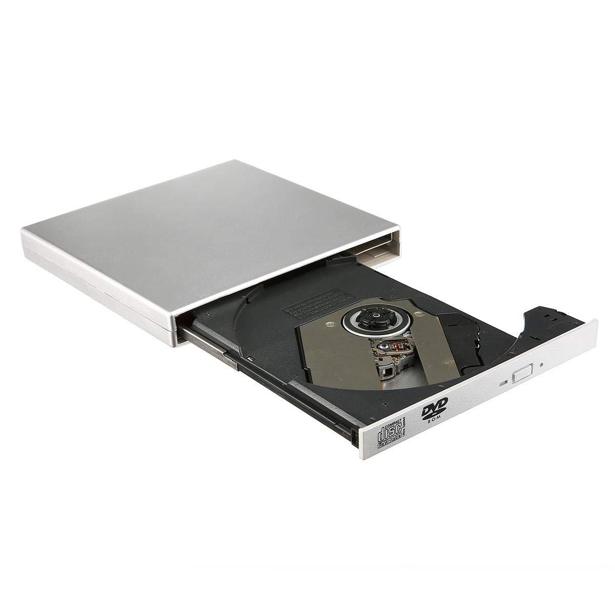 USB 2.0 External CD Burner CD/DVD Player Optical Drive for Laptop Windows - Computer Components Optical Drives - (Silver) - 1 USB2.0 External Drive