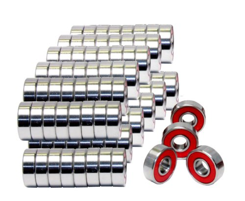 608-2RS Skateboard Bearing, Red, 8x22x7, Sealed, (Pack of 100) by VXB