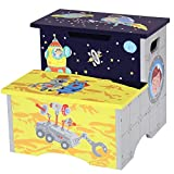 Fantasy Fields - Outer Space Thematic Kids Wooden Step Stool with Storage | Imagination Inspiring Hand Crafted & Hand Painted Details | Non-Toxic, Lead Free Water-Based Paint