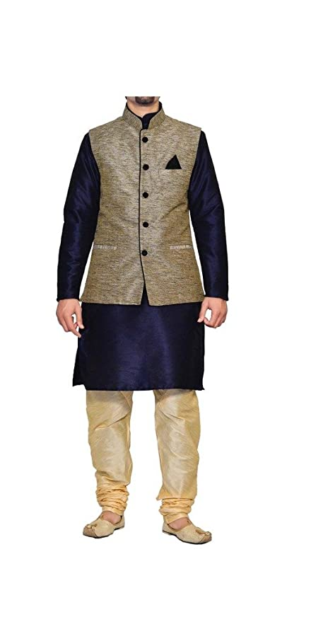 Mag Men's Kurta Churidhar with Waistcoat Men's Kurta Sets at amazon