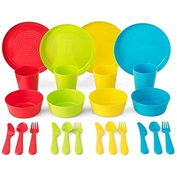 Plaskidy - Vajilla de plástico (4 unidades, 24 piezas, incluye vasos para niños