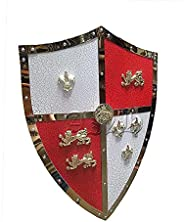 A N H Medieval LARP Warrior Viking Shield Knight Crusader Shield Armor Kingdom of Heaven with Red Cross