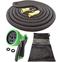 DT ULTRALIGHT Garden Hose NEVER KINKS with SOLID BRASS Fittings and Valves, NO LEAKS, STRONG and DURABLE, BIG 9 Spray Nozzle, Storage Bag and Lifetime Guarantee