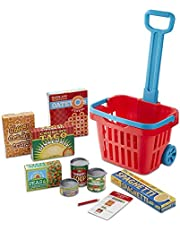 Melissa & Doug Fill & Roll Grocery Basket Play Set - The Original (Play Food Kids Toy, 11 Pieces, Great Gift for Girls and Boys - Best for 3, 4, 5 Year Olds and Up)