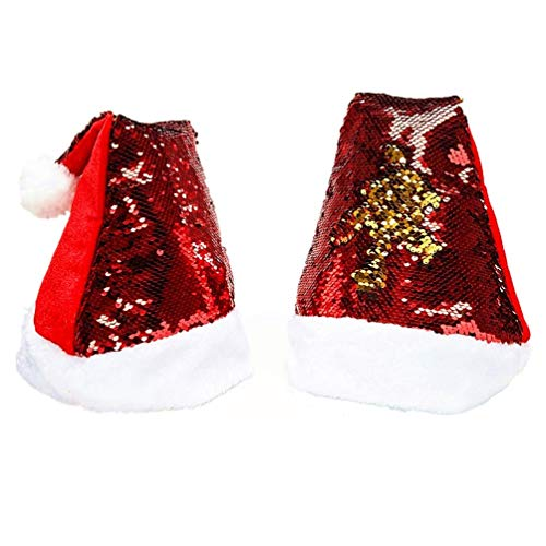 2 Pack Reversible Sequin Santa Hats for Adults & Kids – Christmas Bling Red/Gold Color - Flip Up Double Side Change Color Sequins - Personalized Xmas Holiday Fun Decorations, Party Accessories ()