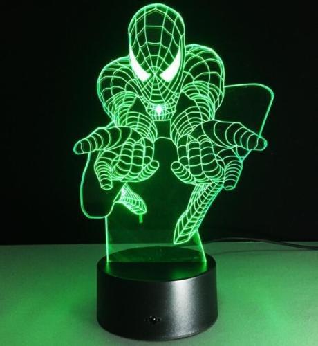 スパイダーマン3d光学式イリュージョンBulbingテーブルランプ夜間ライト7色変更 B0761LJL75 15449