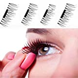 ultra black hair growth ii - Uspeedy 2 Pair/8pcs 3D Magnetic False Eyelashes Makeup Soft Hair Magnetic Fake Eyelashes (0 0 Black)