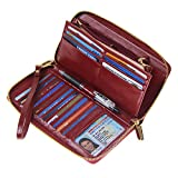 Women RFID Blocking Wallet Wax Genuine Leather Zip Around Clutch Large Travel Purse Wine Red