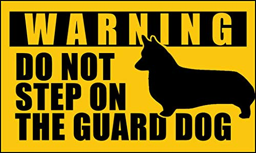 American Vinyl Corgi Do Not Step on The Guard Dog Sticker (Pembroke Welsh Funny Small)