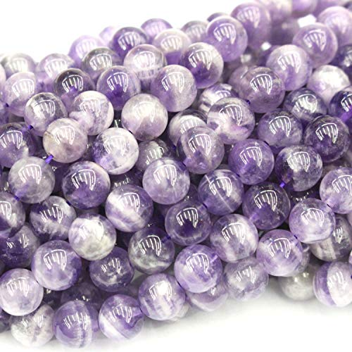 Natural Color Genuine Unpolished Matte Amethyst Round Real Gemstones Loose Beads for Jewerly Bracelet Making (Smooth 8mm)