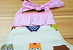 CRB Fashion Girls Children\'s For Toddler Kids Owl Cooking Baking Headscarf Apron 2 Piece Set (Style #1, 3T to 4T)