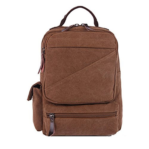purpose Shoulder Travel Retro Canvas Backpack Bag Brown Multi Leisure Laidaye Business O8RqZxdw