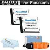 2 Pack Battery Kit For Panasonic Lumix DMC-TS25, DMC-TS20, DMC-TS30, DMC-TS30K WaterProof Digital Camera Includes 2 Extended Replacement (900Mah) DMW-BCK7 Batteries + Floating Strap + More