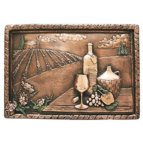 (Copper Backsplash Wine Scene - Vineyard View Kitchen 3D or Bar Mural 22 x 15 in (Not a Tile))