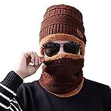 VORCOOL Winter Hat,Winter Men and Women Velvet Thickening Wool Cap Knit Hat Scarf Suit(Coffee)
