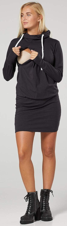 HAPPY MAMA Womens Maternity Nursing Hooded Dress Zipped Sweatshirt 1103