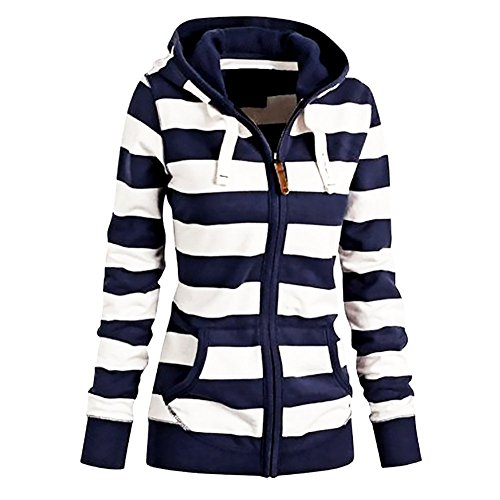FANTIGO Womens Casual Long Sleeve Zipper Stripe Sweatshirt Hooded Blue W L