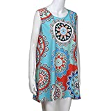 Auwer Clearance! Women's O-Neck Boho Sleeveless Summer Beach Sundress Floral Printed Casual T-Shirt Short Mini Dressh Printed Short Mini Dress (2XL, Blue)