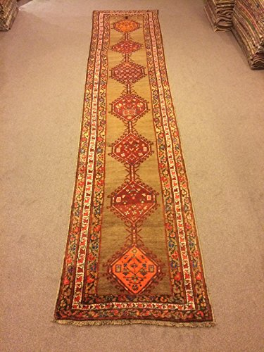 3.5x15.4 Feet Brown Green Orange Wool On Wool Village Rug Runner Ethnic Rug Runner Vintage Aisle Rug Corridor Rug Hallway Carpet.Code:P618
