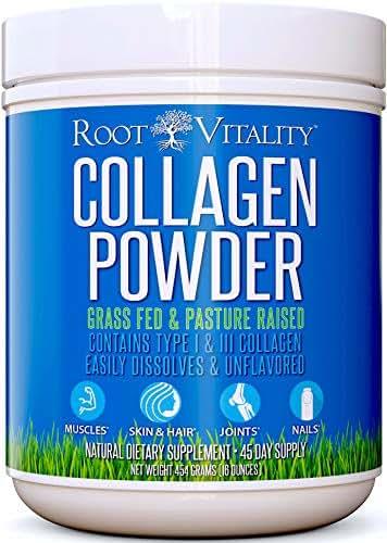 Collagen Peptides Powder, Grass Fed, Premium Quality, Collagen Protein Powder, Pasture Raised, Easily Dissolves, Unflavored, Keto & Paleo Friendly, Non-GMO, 16 Ounces