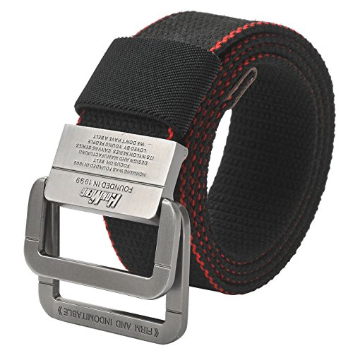 Braided Square Buckle Belt - Faleto Men's Canvas Stretch Elastic Belt Braided Belts with Double Ring Square Buckle #4