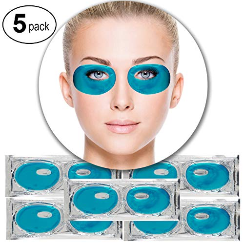 Set Kit of 5 Pairs Blue Marine Algae Seeweed Collagen Gel Crystal Masks Eyelids Patches Eyes Pads for Intense Moisturizing Hydrating, Wrinkles Crows Feet Removal, Whitening Melanin Pigment Reduction