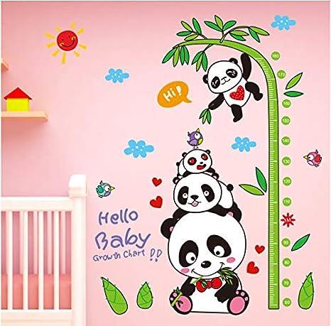 GKAWHH Panda De Bambú Etiqueta De La Pared PVC DIY Animales Altura Medida Tatuajes De Pared para Niños Habitación Bebé Dormitorio Decoración 94 * 146 Cm