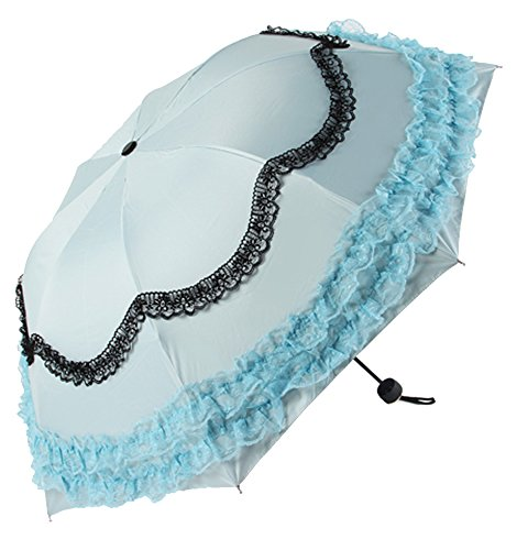 Honeystore Princess Lace Ultraviolet-Proof Folding Umbrella Anti-uv Dome Parasol Style2 Light (Pretty Parasol)