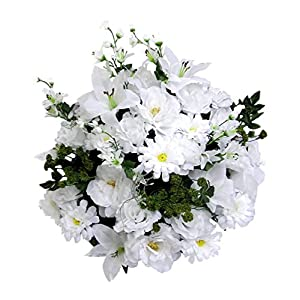 Admired By Nature 40 Stems Artificial Rose, Lily, Zinnia, Queen Anne's Lace Mixed Flower Bush with Greenery for Home, Wedding, Restaurant & office Decoration Arrangement, White 62