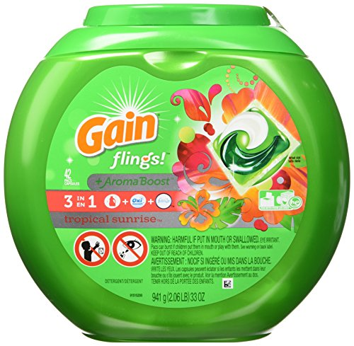 Gain Flings! Tropical Sunrise Scent with Oxi Boost and Febreze Freshness, 42 Count