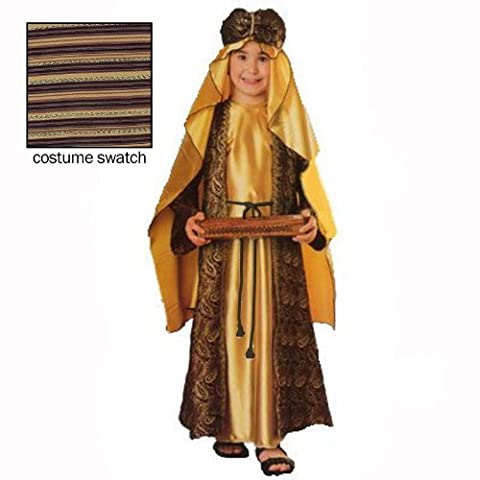 Three Wise Men Child Costume Melchior (gold with turban) - Small (Religious Gold Crowns)