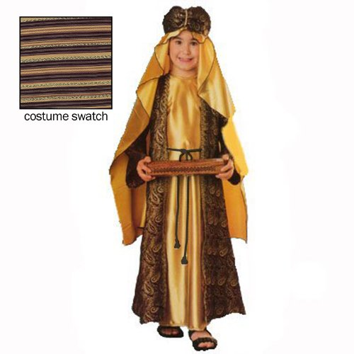 Three Wise Men Child Costume Melchior (gold with turban) - (Child Wise Man Costumes)