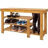 SoBuy XXL!100% Bamboo Shoe Rack, Shoe Bench, Storage, Bathroom Shelf, Size: L35.4xW11.4xH20 inch, FSR15-L-N,natural