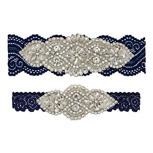 Yanstar Wedding Bridal Garter Set White Champagne Navy Lace For Bridal Accessories Rhinestone Garter Lace … (XL:22-23IN, navy-silver)
