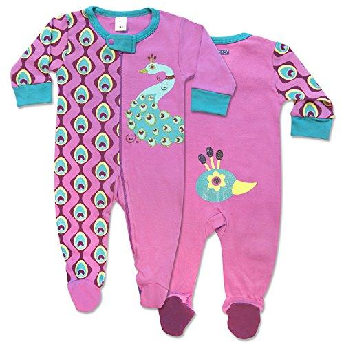 Sozo Baby-Girls Newborn Peacock Footie, Pink/Teal/Aqua/Fuchsia, 6-9 Months (Peacock Baby)