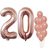 Rose Gold 20 Number Balloons - Large, 2 and 0 Mylar Rose Gold Balloons, 40 Inch | Extra Pack of 10 Latex Baloons, 12 Inch | Great 20th Birthday Party Decorations| 20 Year Old Rose Gold Party Supplies