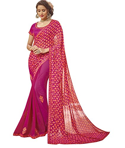 Indian Ethnicwear Faux Georgette Magenta Coloured Floral Print Saree by Maahir Garments