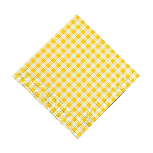 Fun Express - Yellow Gingham Luncheon Napkins (48pc) - Party Supplies - Print Tableware - Print Napkins - 48 Pieces (Gingham Yellow Napkins)