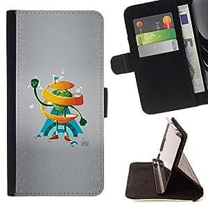 Momo Phone Case / Flip Funda de Cuero Case Cover - Naranja del remolino de Hombre;;;;;;;; - Huawei Ascend P8 Lite (Not for Normal P8)